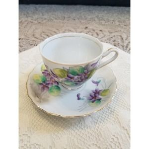 Fine China Teacup & Saucer Flower violets